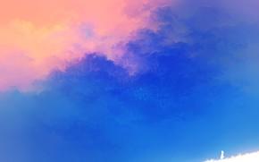 Картинка небо, девушка, природа