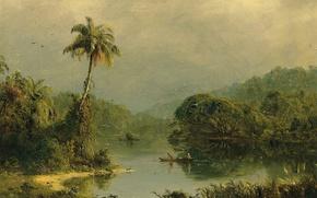 Обои река, пальма, Фредерик Эдвин Чёрч, природа, Тропический Пейзаж, лодка, картина