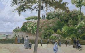 Картинка пейзаж, люди, отдых, картина, прогулка, Камиль Писсарро, Городской Парк в Понтуазе