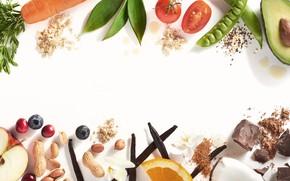 Картинка ягоды, яблоко, апельсин, шоколад, кокос, горох, фрукты, банан, овощи, помидор, морковь, ваниль, арахис, голубика, авокадо, …
