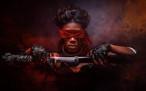 Картинка девушка, фон, меч, повязка, причёска, воительница, POWER OF THOUGHT