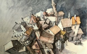 Картинка город, рисунок, дома, сказка, акварель