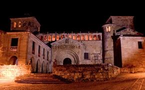 Картинка ночь, освещение, Испания, монастырь, Colegiata de Santa Juliana