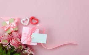 Обои любовь, фон, розовый, подарок, сердце, розы, букет, сердечки, love, pink, romantic, hearts, valentine's day, gift, ...