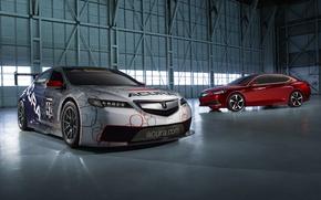 Картинка Красный, Колеса, Машины, Ангар, Фары, Прототип, Спортивная, Acura, TLX