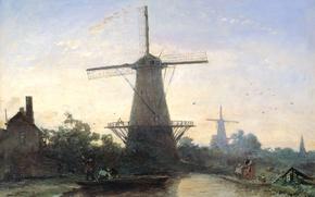 Картинка пейзаж, масло, картина, Мельницы в Роттердаме, Ян Бартолд Йонгкинд