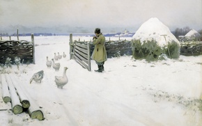 Картинка гуси, 1897, сено, Михаил ГЕРМАШЕВ (1868-1930), Снег выпал, зима, снег, масло