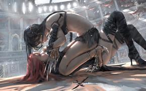 Обои Aeolian vs. Lenia, арена, арт, девушки, Ghostblade, Wlop