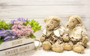 Картинка любовь, цветы, игрушка, букет, мишка, пара, love, bear, wood, flowers, romantic, couple, sweet, teddy, home