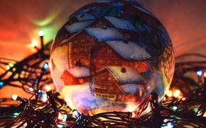 Картинка новый год, елочная игрушка, широкоформантый, огоньки гирлянды, шар игрушка