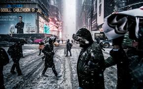 Картинка город, Зима, Нью-Йорк, USA, США, New York, manhattan