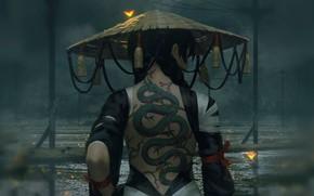 Картинка девушка, пасмурно, спина, лужи, ниндзя, серый фон, art, косы, татуировка дракон, соломенная шляпа, якудза, Guweiz