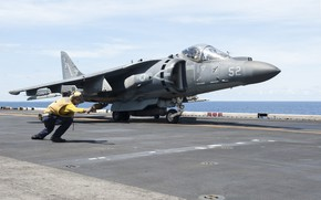 Картинка истребитель, палуба, AV-8B Harrier