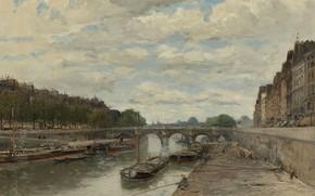 Картинка мост, река, картина, городской пейзаж, Франк Богс, Frank Myers Boggs, Пон-Нёф
