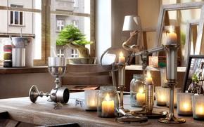 Обои лупа, стол, LAID-BACK AFTERNOON, свечи, дерево