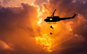 Обои небо, полет, рассвет, вертушка, силуэт, вертолет, боке, высадка, helicopter, Bell, UH-1, Iroquois, Huey, десанта, wallpaper., ...