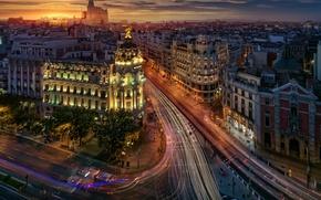 Обои город, Мадрид, улицы, Испания, вечер, огни