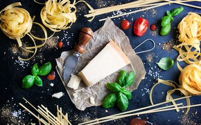 Картинка пармезан, сыр, базилик, паста, черри, специи