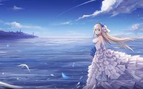 Обои небо, девушка, природа, невеста, Warship Girls