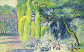 Картинка пейзаж, птицы, природа, картина, Henri Edmond Cross, пуантилизм, Анри Кросс, Лебединая Семья
