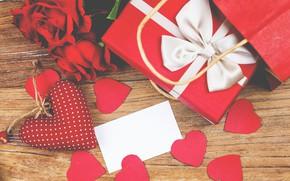 Картинка цветок, любовь, сердце, роза, подарки, сердечки, love, romantic, Valentine's Day