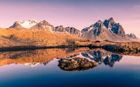 Обои Iceland, Vesturhorn, Auster-Skaftafellssysla, Исландия, горы, отражение, озеро