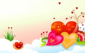 Картинка праздник, рисунок, улитка, вектор, весна, арт, сердечко, детская