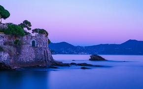 Картинка Италия, Italy, Liguria, Nervi, фиолетовый закат