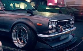 Обои Rain, GT-R, Front, Nissan, Skyline, 2000