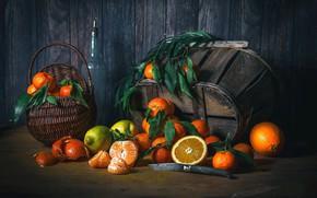Картинка натюрморт, лимон, апельсин, wood, корзинка, цитрусы, мандарины
