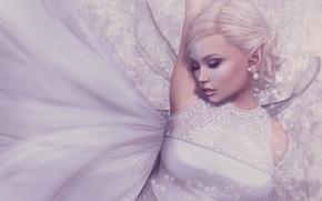 Картинка девушка, эльф, крылья, платье, блондинка
