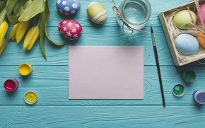 Картинка цветы, краски, яйца, пасха, тюльпаны, Праздник, кисти