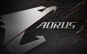 Обои logo, eagle, GIGABYTE, AORUS