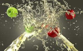 Обои брызги, сок, яблоки, всплеск