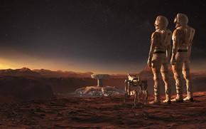 Картинка ландшафт, робот, сооружение, космонавты, Mars WIRED, Jacek Irzykowski
