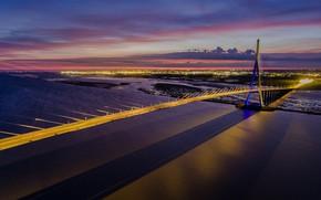 Картинка Гавр, опора, Франция, ночь, Онфлёр, Мост Нормандии, огни