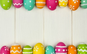 Обои весна, colorful, wood, Easter, яйца, Пасха, happy, spring, holiday, eggs