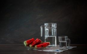 Картинка стакан, ягоды, Арбуз, графин