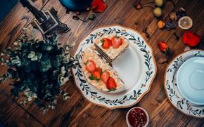 Картинка ягоды, торт, крем, десерт, wood, сладкое, вкусно, клубника.