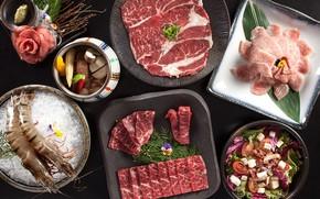 Картинка мясо, бекон, салат, креветки, ассорти