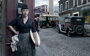 Обои город, женщина, Renault, Paris, Stories, ретро
