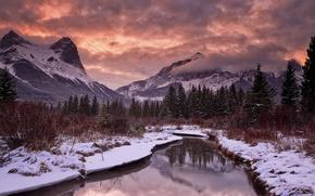 Картинка снег, закат, горы, река