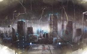 Картинка гроза, город, дождь, стихия, молнии, аниме