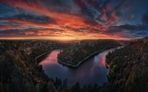Картинка закат, река, вечер, каньон