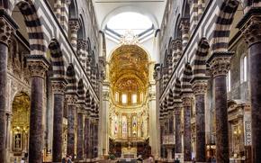Обои неф, колонна, алтарь, арка, скамья, Генуя, Кафедральный собор Сан-Лоренцо, Италия