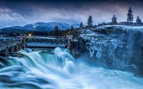 Картинка зима, деревья, горы, природа, река, дамба