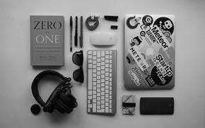 Обои apple, мышь, наушники, очки, ручка, объектив, кабель, провод, телефон, клавиатура, ноутбук, ручки, magic, headphones, magic ...