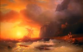 Картинка закат, шторм, скалы, масло, спасение, живопись, Айвазовский Иван, караблекрушение, море - sea
