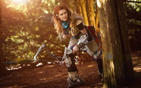 Обои arrow, bow, cosplay, Horizon Zero Dawn, weapon, girl, hunter, red hairl, redhead, red, game