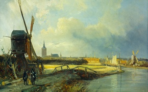 Картинка масло, картина, холст, ветряная мельница, Вид на Гаагу, Корнелис Спрингер